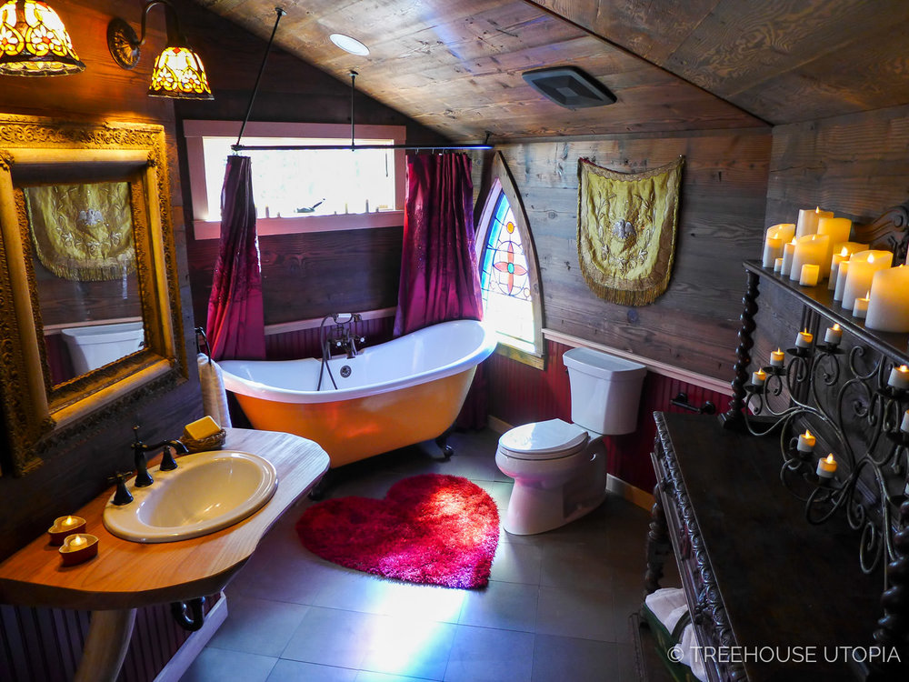 Bathroom inside Chapelle at Treehouse Utopia, a Texas Hill Country Retreat. Photo by Nelson Treehouse.