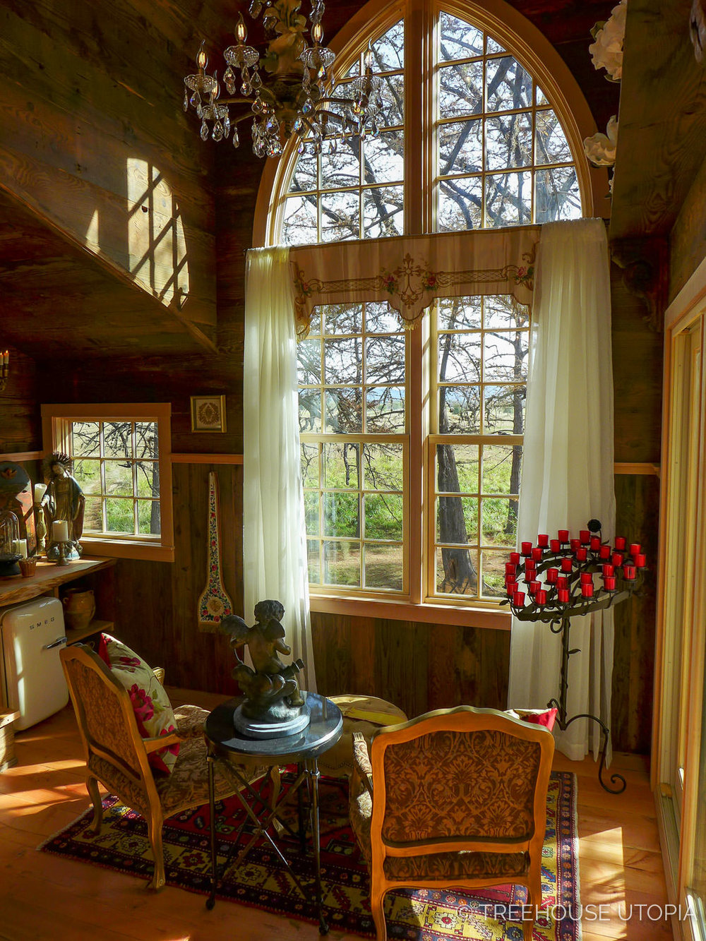 View from one of the gothic windows on Chapelle at Treehouse Utopia, a Texas Hill Country Retreat. Photo by Nelson Treehouse.