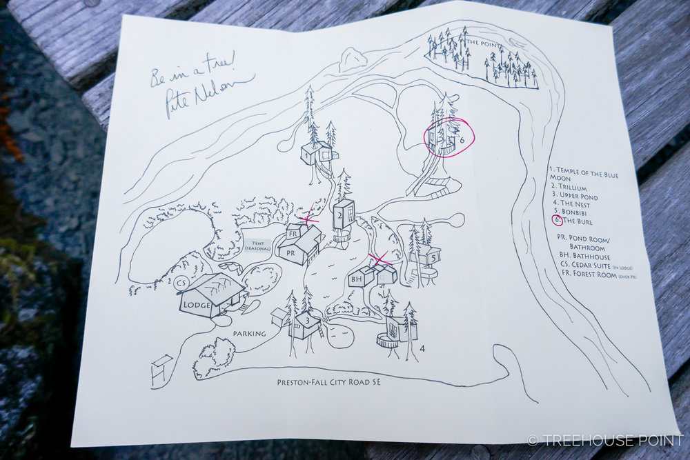 At Check in, You'll receive Pete Nelson's hand-drawn map of treehouse Point