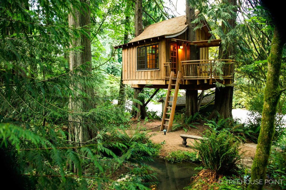 The upper pond treehouse looks like something out of a fairytale.