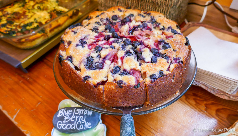 A succulent berry cake at Treehouse Point's breakfast.
