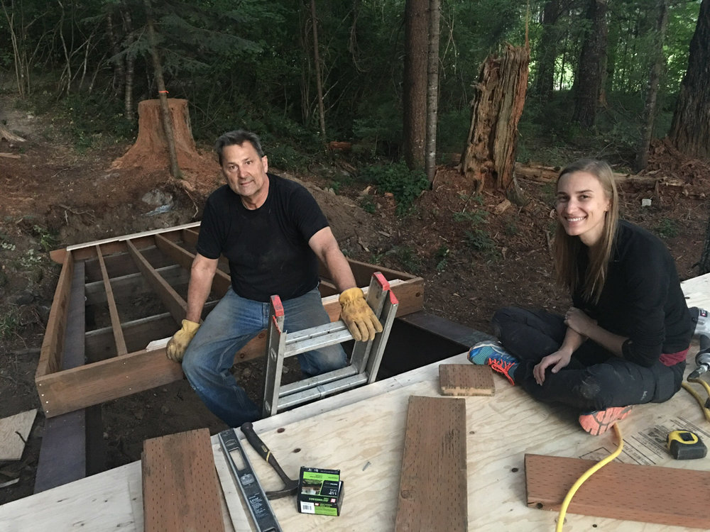 Phil and Jena working on the ramp to the tree-deck.