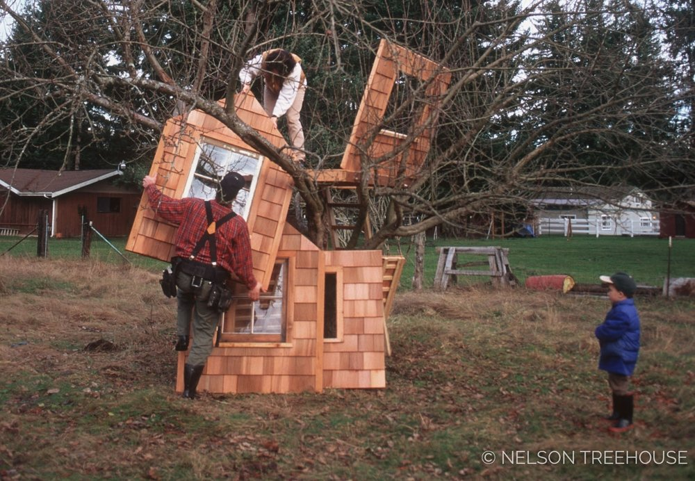 Throwback to Pete and Judy nelson building a backyard treehouse for their kids, circa spring 1997.
