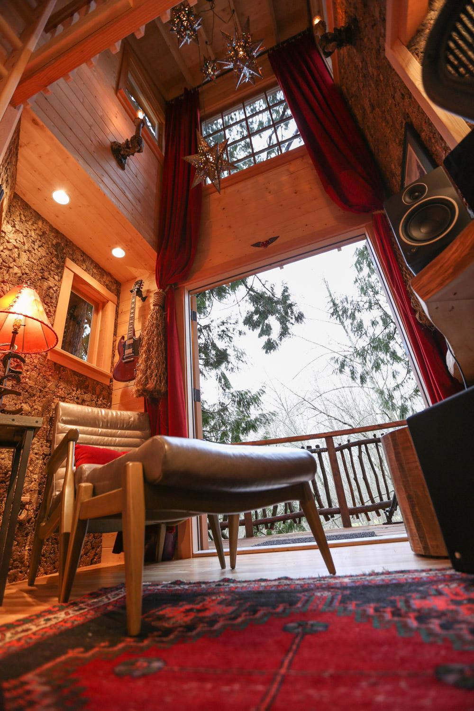 Nelson treehouse recording studio door to deck