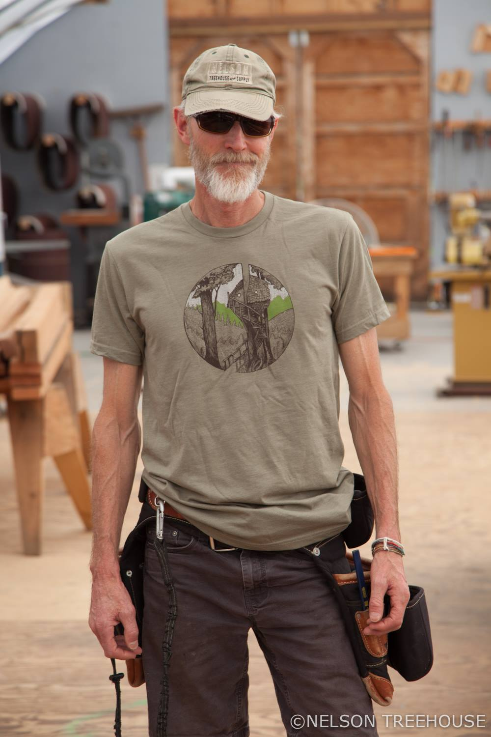 Chuck models our   Beehive Treehouse T-shirt  , printed by Sanctuary Screen Printing
