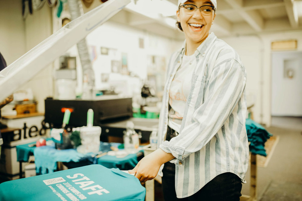 Sanctuary Screen Printing intern Jalynn. Photo courtesy of Troy Carter/Sanctuary Screen Printing.