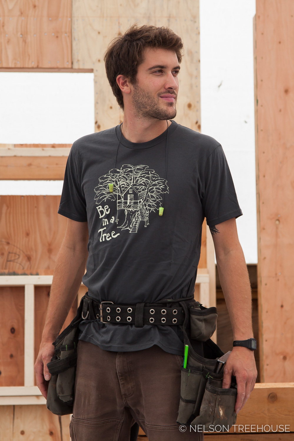 Henry relishes our   Be in a Tree T-shirt in slate.