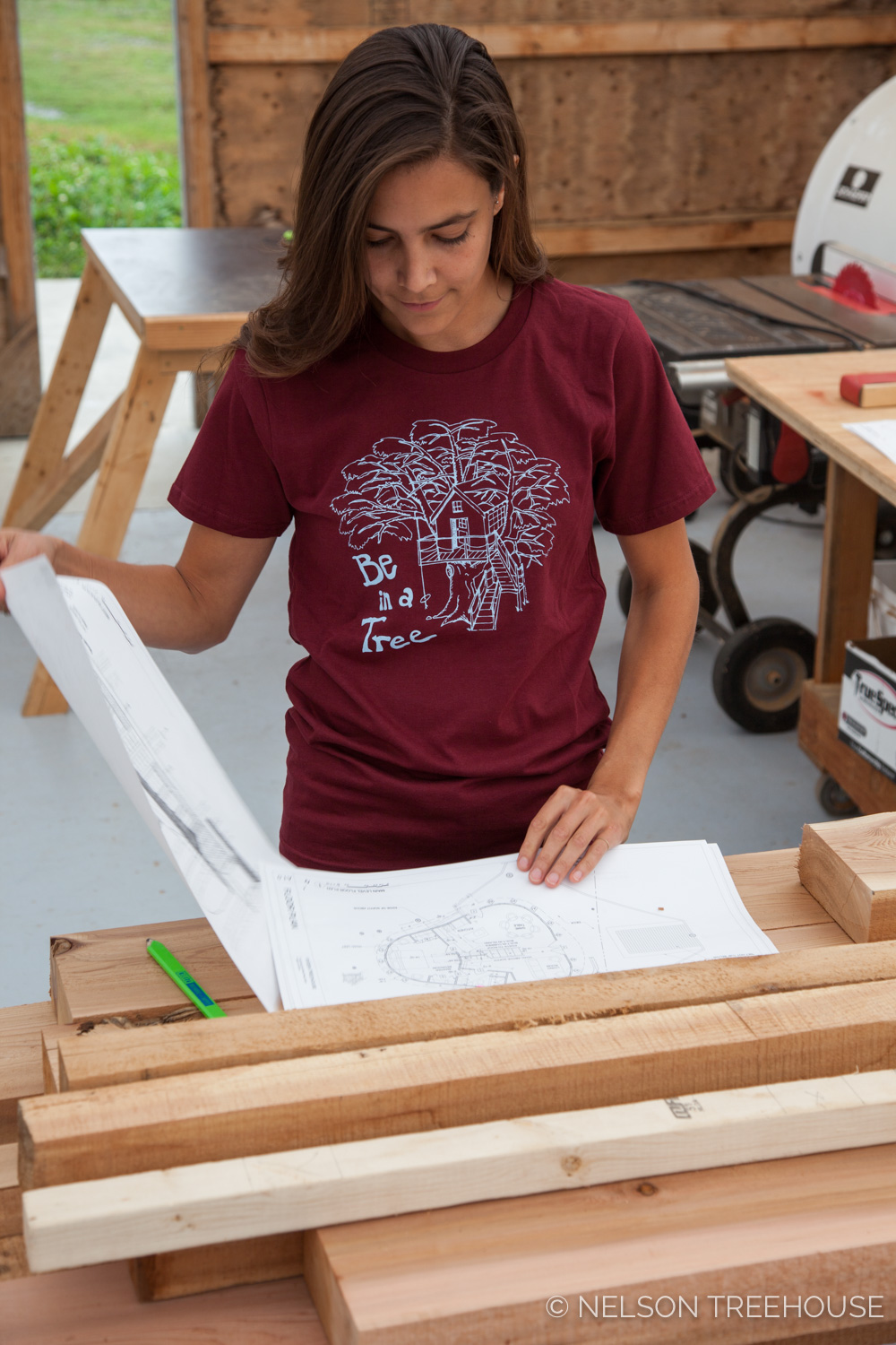 Sam rocks our   Burgundy Be in a Tree T-shirt  , printed by Sanctuary.