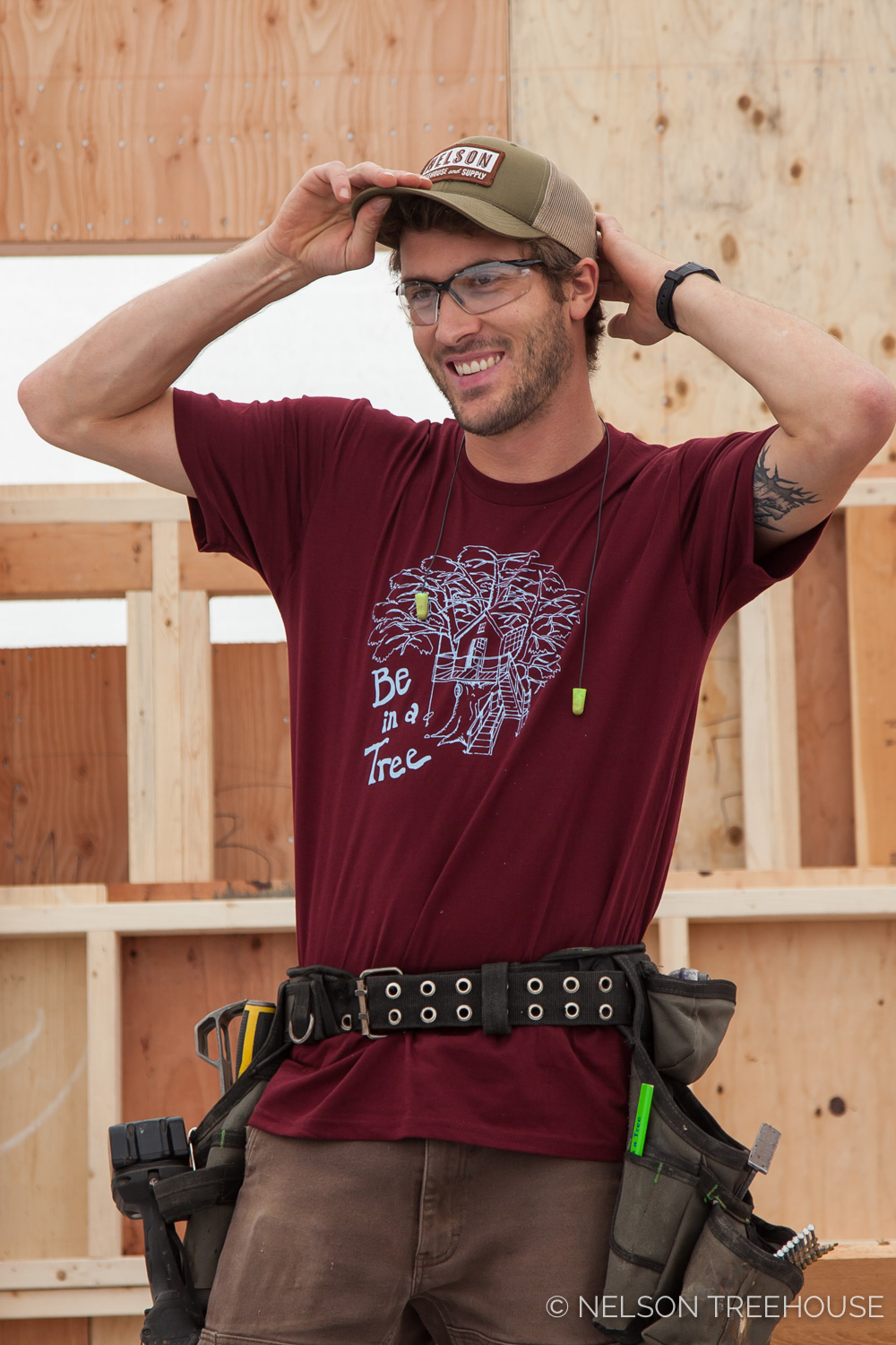 Henry models our   Be in a Tree shirt in Burgundy     and our   Moss Green Snapback Hat