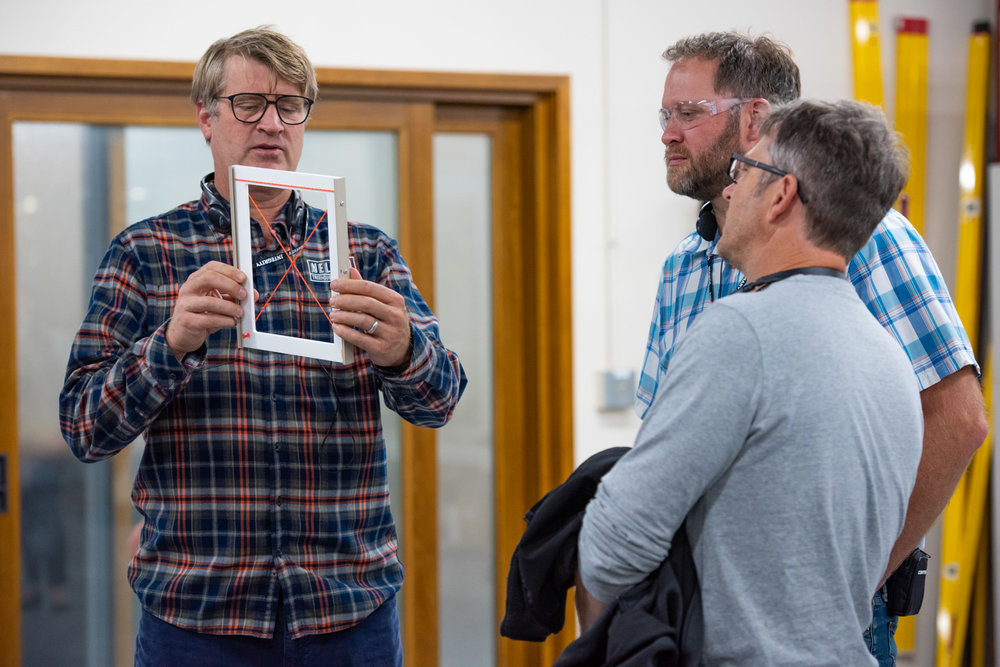 Pete Nelson and Project Managers Daryl McDonald and Toby Maloy learning about the Marvin production process. PHoto courtesy of Marvin.