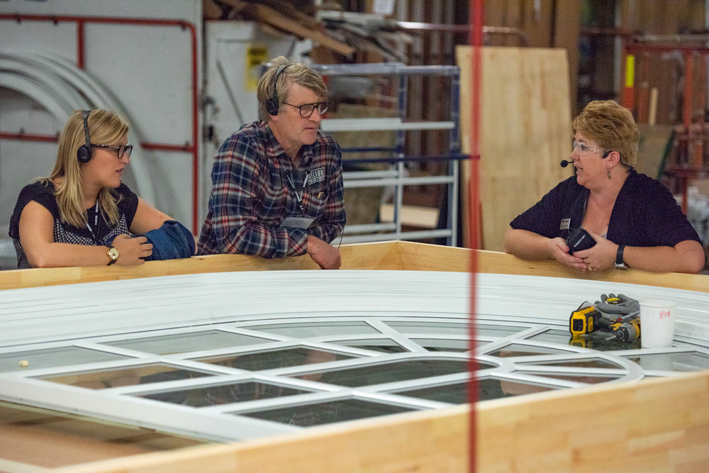 Emily and Pete Nelson learning about the Marvin Windows production process at the Warroad facility. PHoto courtesy of Marvin Windows.