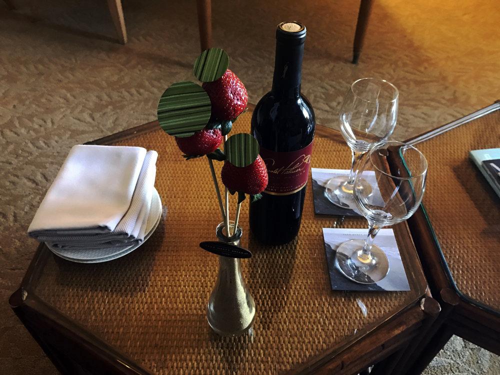 Arnold Palmer Cabernet Sauvignon accompanied by delicious cholo-covered strawberries.