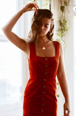 sweet red corduroy dress