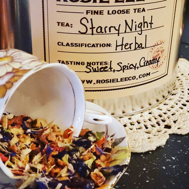 Introducing Starry Night! A delightful herbal tea featuring butterfly pea flowers which are rich in antioxidants and also lend to its beautiful deep blue color when steeped! This magical tea also changes color with the addition of lemon (deep purple), hibiscus (bright red) and even ice! Great hot, iced or infused with spirits! Enjoy the rainbow of colors and health benefits this amazing tea has to offer! #rosieleeco #sanfordfl #sanfording #tea  #herbaltea #teainsanfordfl #loosetea #butterflypea #butterflypeatea