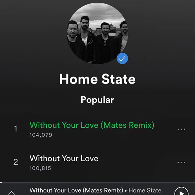 Our brand new 'Without Your Love' Remix just broke 100K @Spotify plays too!! What???? #partytime #back2back #whentheremixbeatstheoriginal