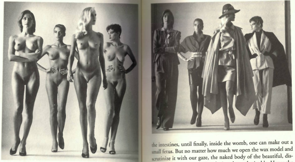 "Agamben talks about a diptych by Helmut Newton that appeared in a magazine called 'They are coming'. The whole interesting thing is that clothed or not, the women in the two images appear exactly the same in pose and expression. It appears to invoke and undermine the theological opposition between nudity and clothing, similar to Beecroft's performance. The only thing left is fashion:  ""Fashion is the profane heir of the theology of clothing, the mercantile secularisation of the prelapsarian Edenic condition."""