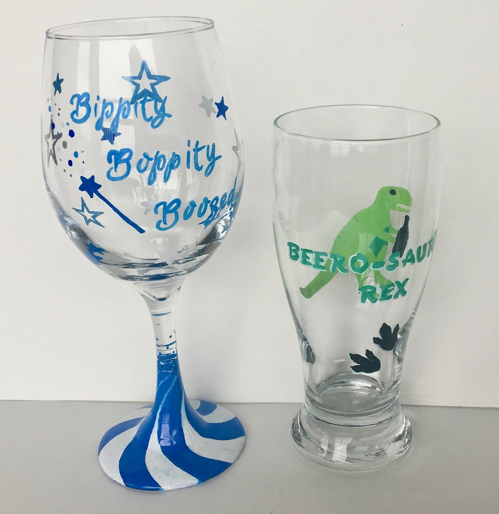 Wine/Pint Glass Painting - We use our exclusive glass stencils to give you a wide variety of fun options to paint and ensure you'll take home a fun glass you'll love using. We have a lot of themes to choose from too like 90's and Disney. You can also do glitter dipped glasses.