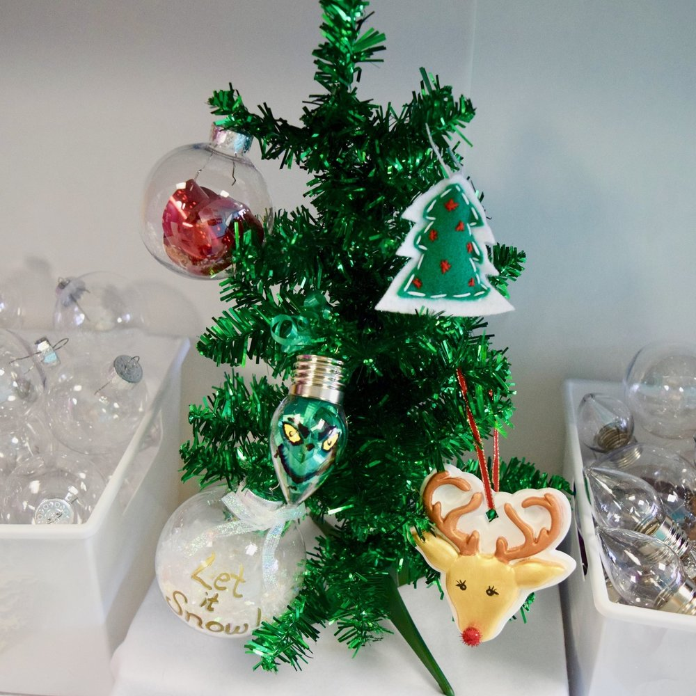 Ornament Decorating Party - We supply you with over 75 kinds of ornaments and tons of supplies to decorate with with! Paint, glitter, ribbon, snow fill, and more.This year we've also added making snow globes!