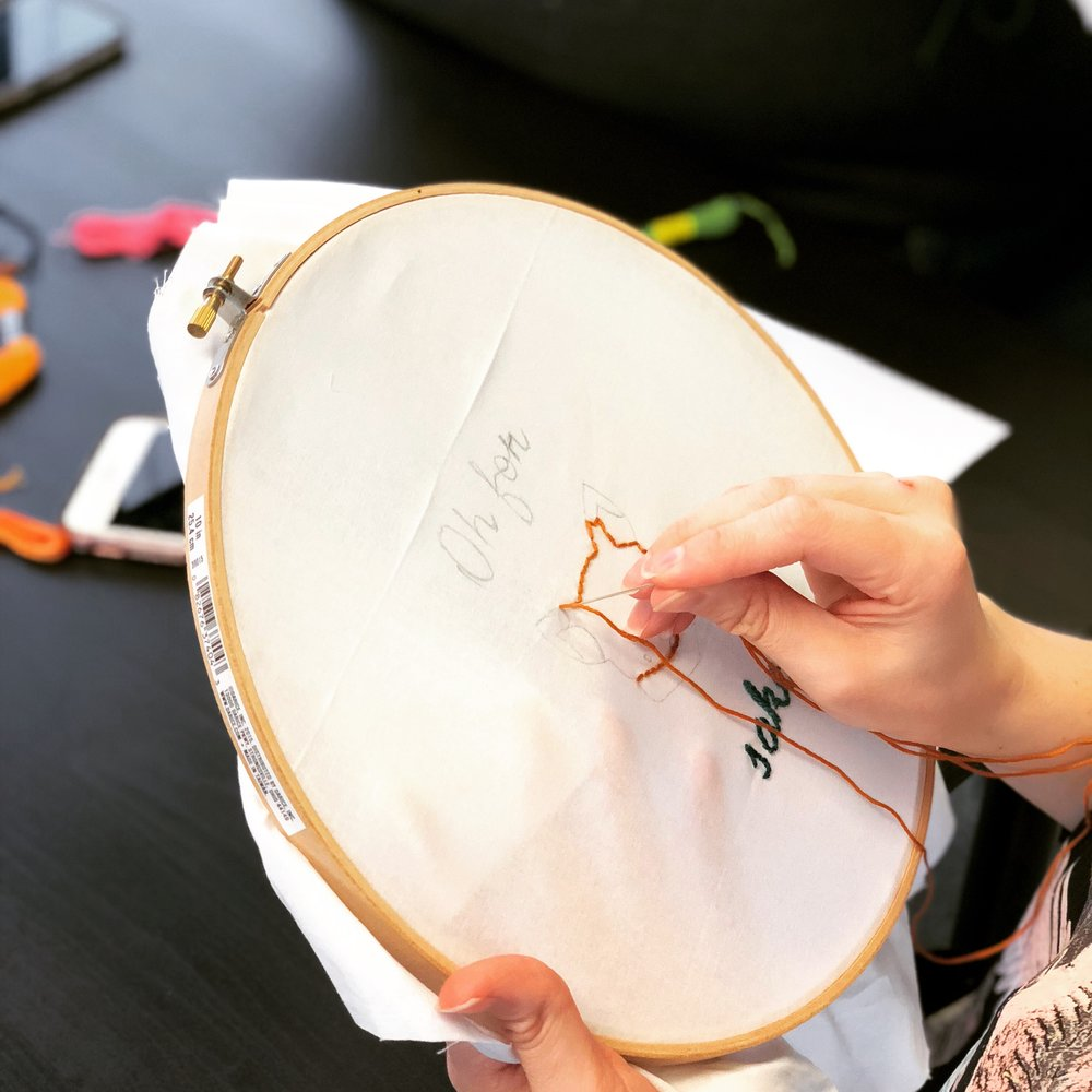 """Embroidery 101 - Learn basic embroidery stitches and then choose from a variety of stencils like """"For Fox Sake"""" to make a design you'll love. Embroidery is not just for Grandma anymore (but she can come too of course!)"""