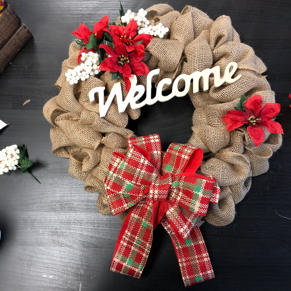 Wreath Making Workshop - Learn how to weave beautiful burlap and mesh wreaths then decorate them with a variety of seasonal floral and ribbons.