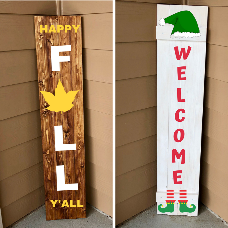 Reversible Porch Sign - Build your own 4 foot sign and then stain and paint both sides with our custom stencils to decorate your porch or home with.