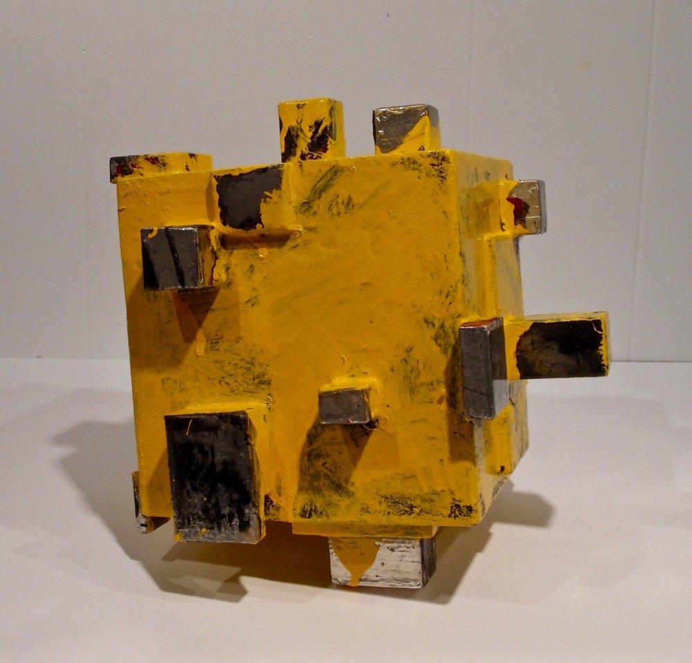 "Larry Graeber, Mine, 2016, 11 x 12 x 10.5"" wood, tape, paint, risen"