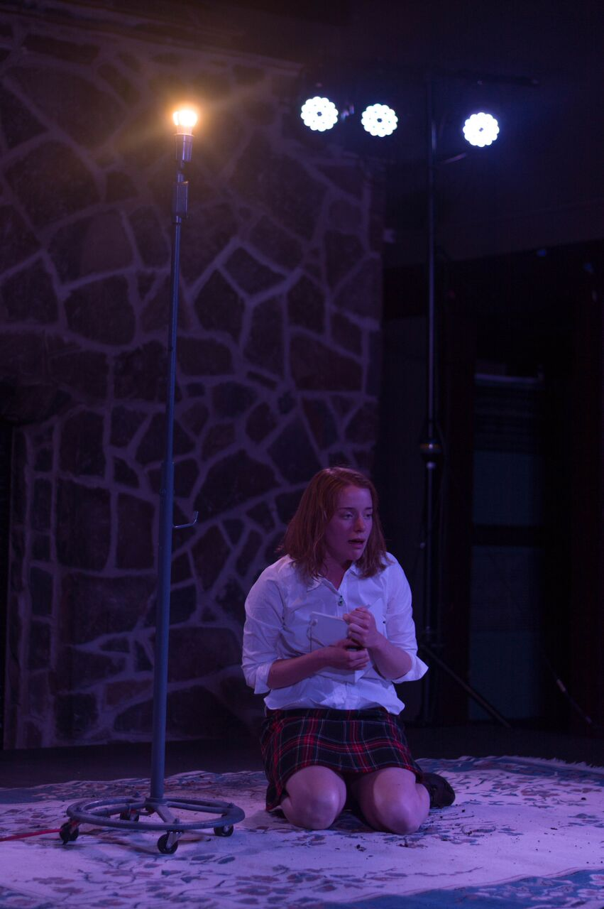 Rigel as Bernadette in 'The Edge of Our Bodies,' a one-woman show by Adam Rapp. Spring, 2016 at Skidmore College.   Directed by Hannah Baker. Photo by Dante Haughton.