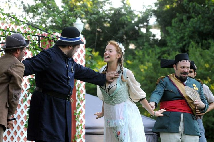 As Jaquenetta in  Love's Labour's Lost , Summer 2015 with Saratoga Shakespeare Company.  L-R: David Girard, Rigel Harris, Wesley Broulik, Christopher Naughton.  Photo property of Saratoga Shakespeare Company.