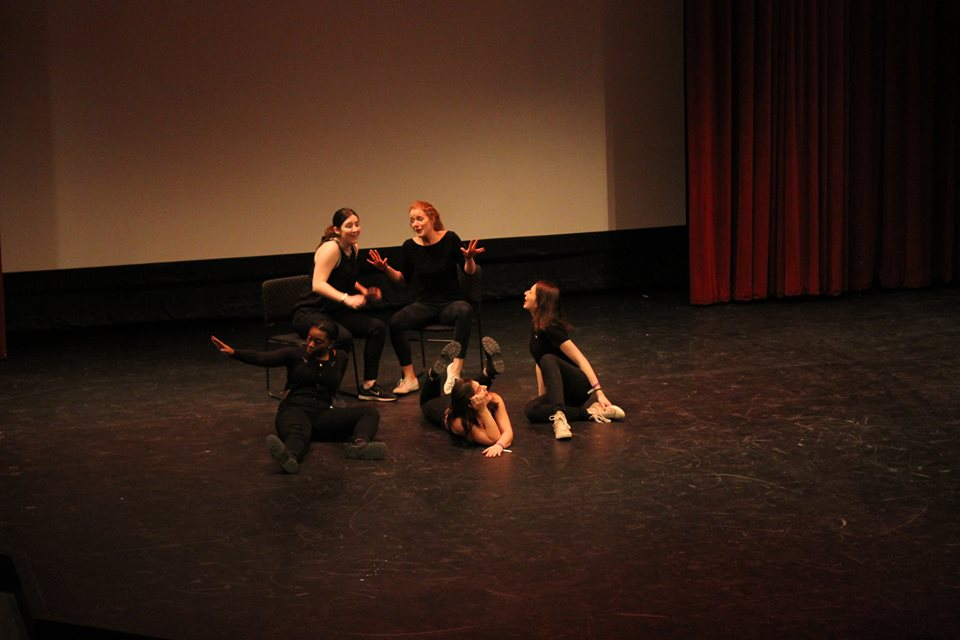 Performing with The Sketchies, Skidmore's oldest sketch comedy group, at the National College Comedy Festival Winter 2016. Photo by Paris Bailie.