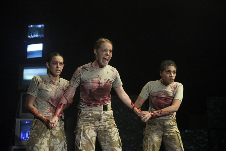 From left: Virginia Ogden, Rigel Harris, and Carene Mekertichyen as the Weird Sisters in 'Macbeth' at Northern Stage, September 2016.