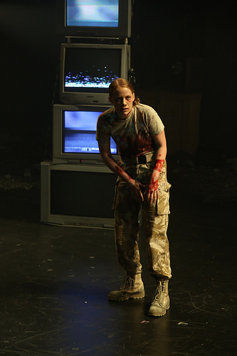 Rigel as the First Witch in 'Macbeth' at Northern Stage. Directed by Stephen Brown-Fried. Set design by Bill Clarke. Photo by Rob Strong.