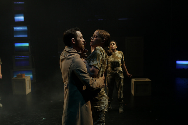 L-R: Rob Grant as Macbeth, Rigel Harris as First Witch, Carene Rose Mekertichyan as Second Witch. 'Macbeth' at Northern Stage. Directed by Stephen Brown-Fried. Set design by Bill Clarke. Photo by Rob Strong.