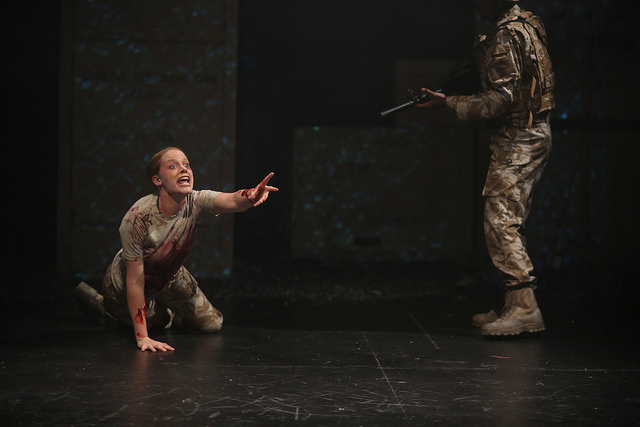 Rigel Harris as First Witch in 'Macbeth' at Northern Stage. Pictured with Damian Thompson as Banquo.  Directed by Stephen Brown-Fried. Set design by Bill Clarke. Photo by Rob Strong.
