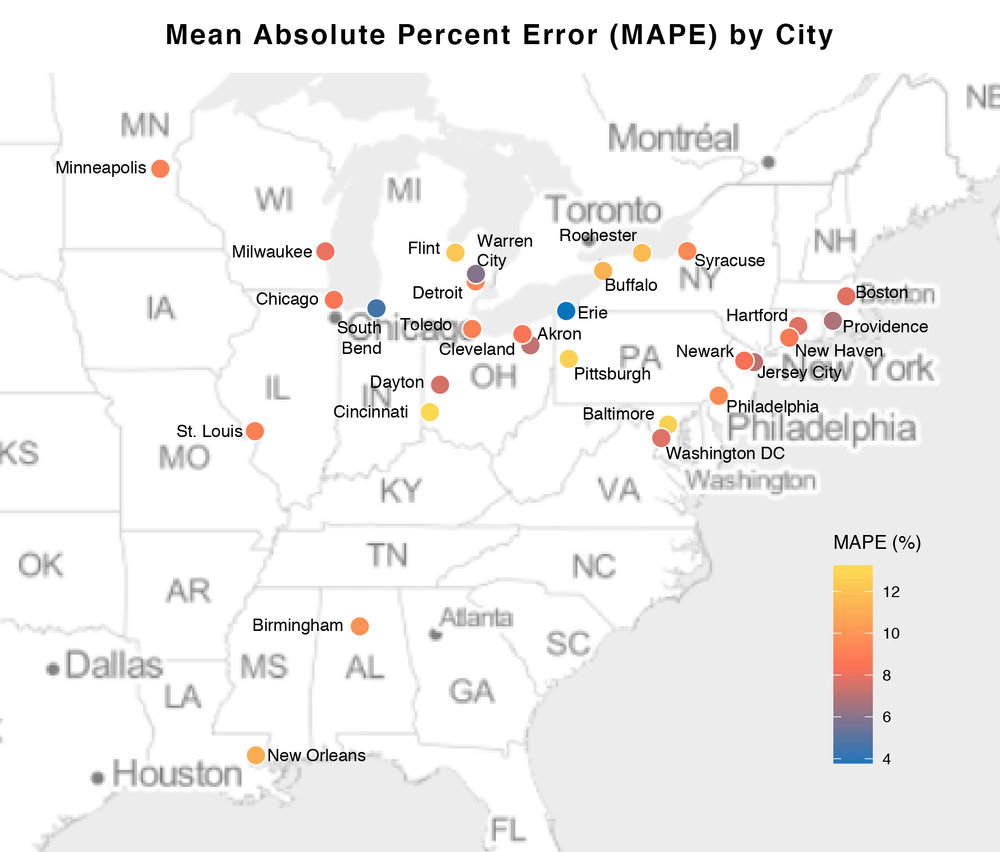 RESULTS: MAPE by city (map)