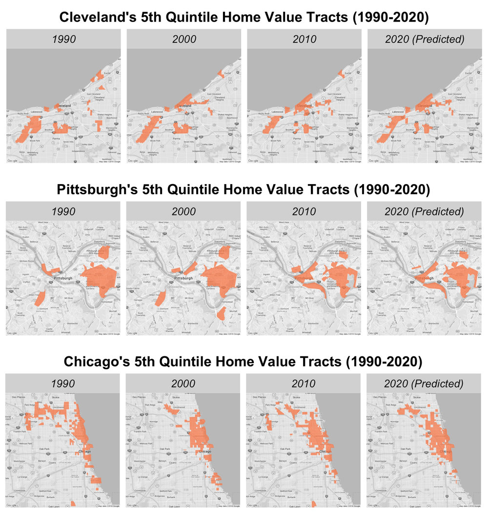 RESULTS: Observed and predicted 5th quintile tracts 1990-2020 (3 example cities)