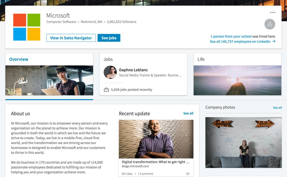 microsoft linkedin company page