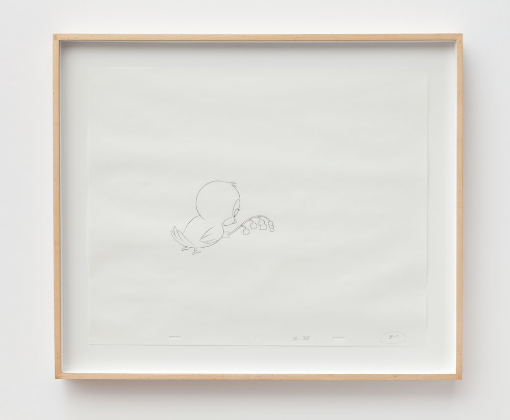 Mathias Poledna   Untitled (Maiglöckchen) , 2014, graphite and red pencil on punched 16 field animation bond paper, Paper: 13.5 x 16.5 inches, Frame: 17 x 20  inches
