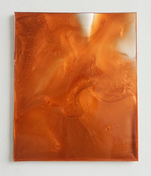 Carrie Yamaoka   14.125 by 11.625 (copper #2) , 2018, reflective mylar, cast flexible urethane resin and powdered pigment, 14.125 x 11.625 inches