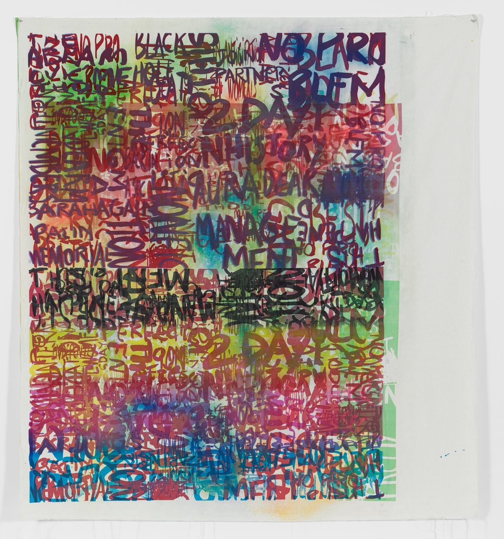 Rochelle Feinstein   Research Park Project: Kk , 2014, Hand painting and screen print on canvas, 80 x 71 inches