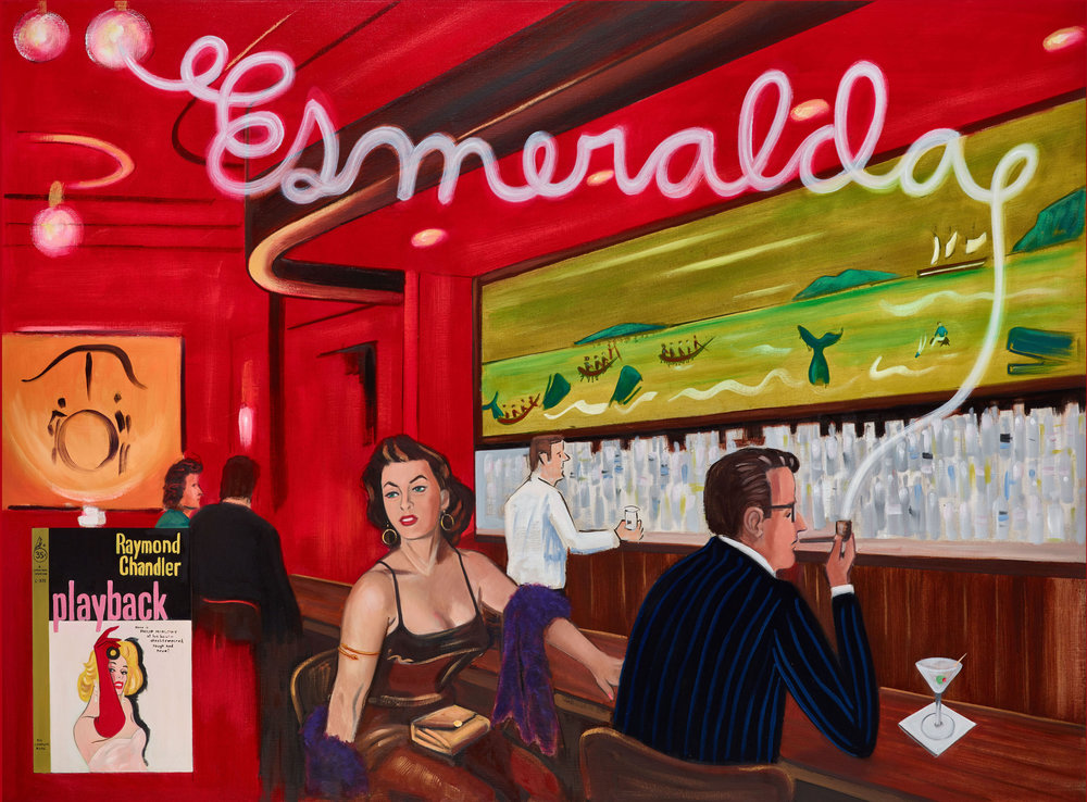 Raul Guerrero  Portrait of Raymond Chandler at the Whaling Bar c.1954: La Jolla, 2018 Oil on linen 56 x 80 inches (142.2 x 203.2 centimeters)