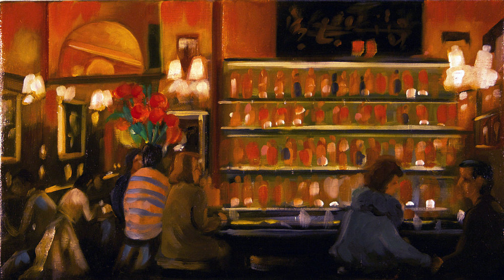 Raul Guerrero  Le Closserie de Lilas: Paris, 2013  Oil on linen 9 x 16 inches (22.9 x 40.6 centimeters)