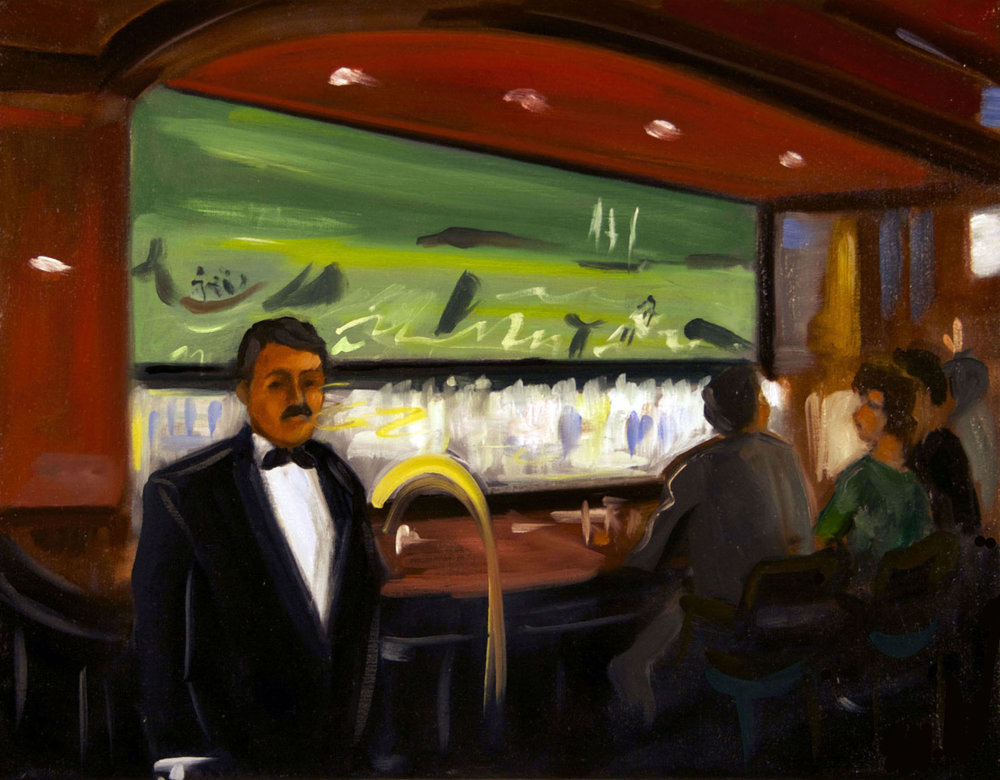 Raul Guerrero  The Whaling Bar: La Jolla – D, 2013  Oil on linen Framed Dimensions: 14 x 18 inches (35.6 x 45.7 centimeters)
