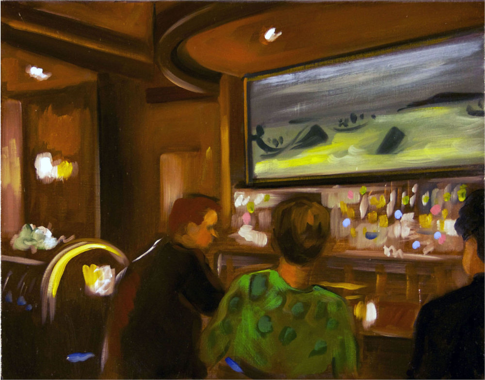 Raul Guerrero  The Whaling Bar: La Jolla – C, 2013  Oil on linen Framed Dimensions: 14 x 18 inches (35.6 x 45.7 centimeters)