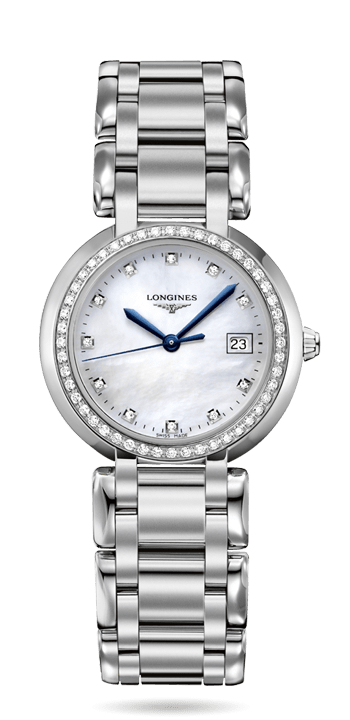 Longines Primaluna. Material : Stainless steel Glass : Scratch-resistant sapphire crystal, with several layers of anti-reflective coating on the underside Dimension : Ø 30.00 mm Water Resistance : Water-resistant to 3 bar Case Diamonds : Case set with 48 Wesselton VVS diamonds, for a total of 0.403 carats.  Reference: L8.112.0.87.6 Learn more here