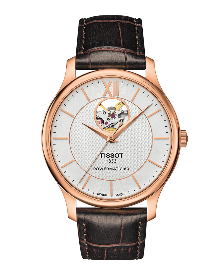 TISSOT TRADITION POWERMATIC 80 OPEN HEART. Ref: T063_907_36_038_00