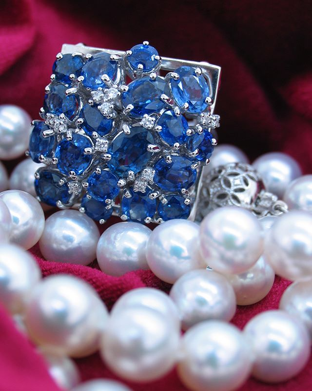 """Life without jewellery is just eh"" ~ unknown. ... Freshwater Pearl necklace with 18ct gold catch. . 18ct White gold fancy ring with blue sapphires and diamonds. #bespokepiece by @mariosjewellers. . . . . . . . . #mariosjewellers #awardwinningjeweller #jewellerydesigner #manufacturingjeweller #jewellersofinstagram #jewellersofdistinction #capetown #southafrica #canalwalk #diamonds #pearlnecklace #saphirering #preciousgemstones #whitegold #ring #diamondring #bebold #spoilher #jewelleryforeveryoccasion #jewellerystore #luxuryjewellery #highendjewelry #luxurylifestyle #followusformore #follow4follow #jewelleryinspiration"
