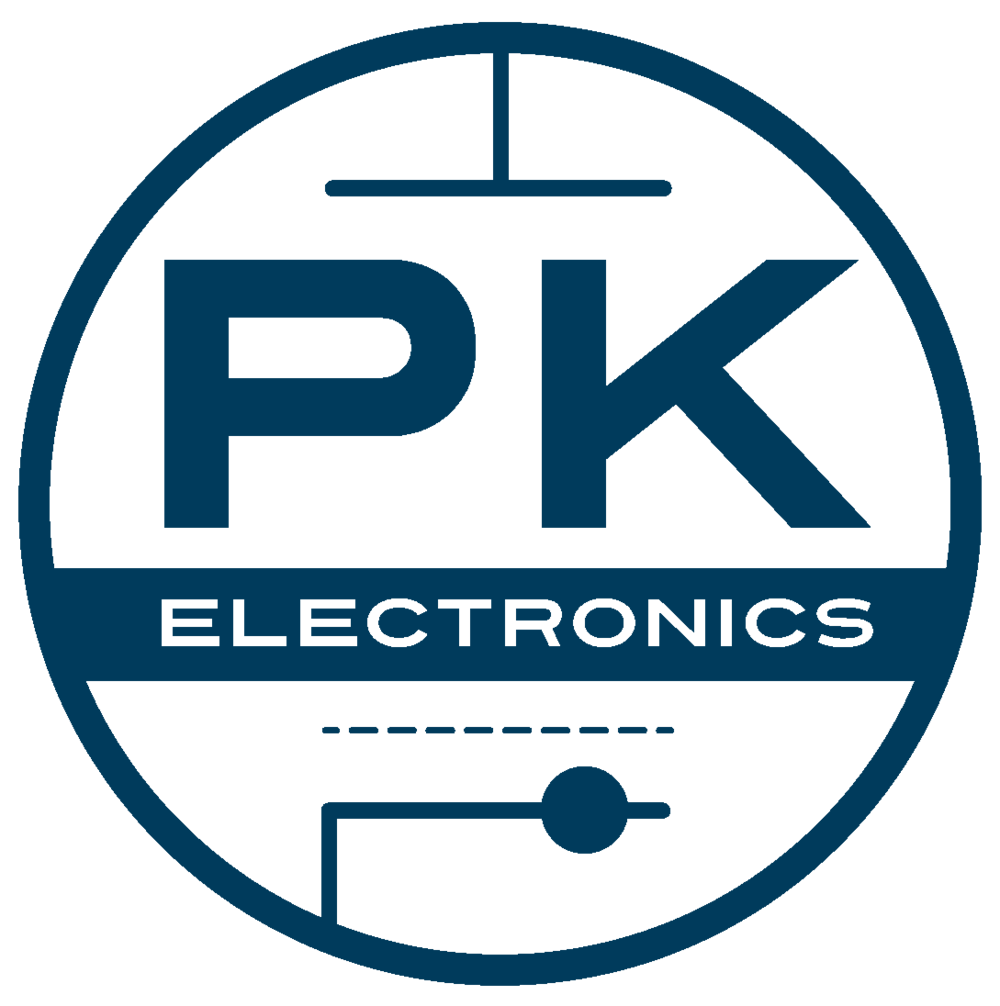 PK Electronics is a vintage tube amplifier repair shop, based in Brooklyn, NY. This logo is representative of a schematic.
