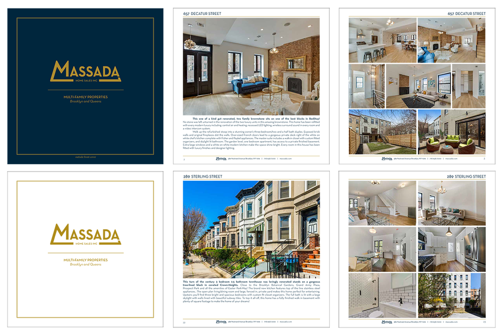 Massada Real Estate | Brooklyn, NY   Sample page layout for a property look book.