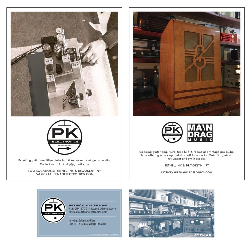 Patrick Kauffman Electronics | Brooklyn, NY   Top: Print Ads for DV8 Magazine Bottom: Business Card