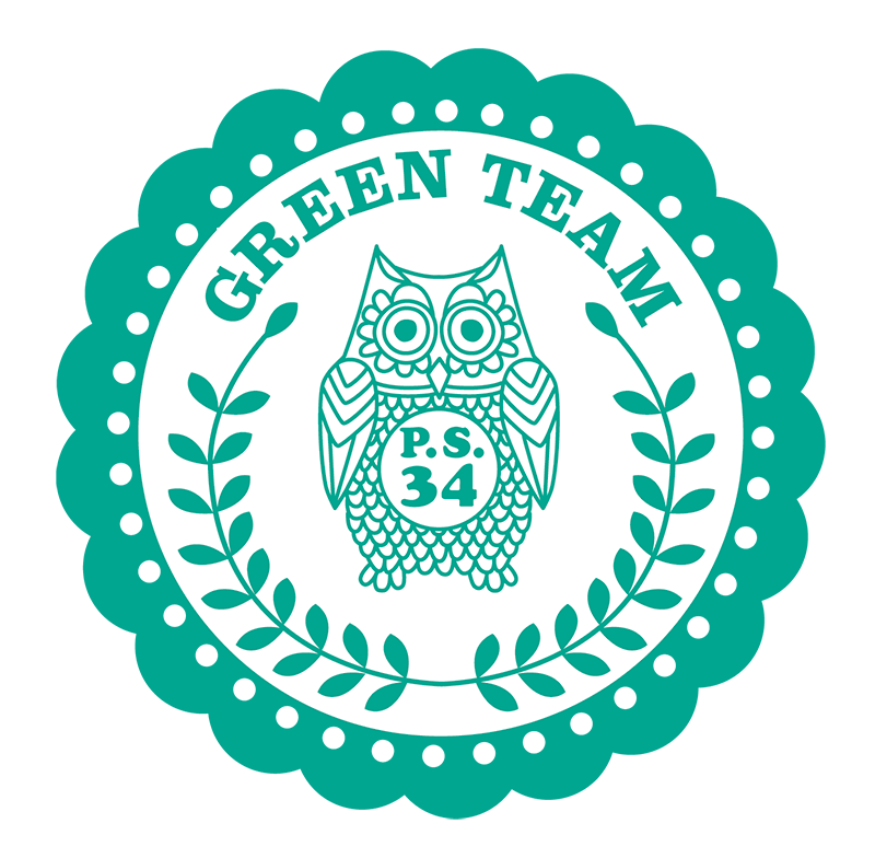 PS 34 is an elementary school in Brooklyn. This is a logo for the Green Team, which is an opt-in environmental awareness program for the school, but it is very robust with students and parents.